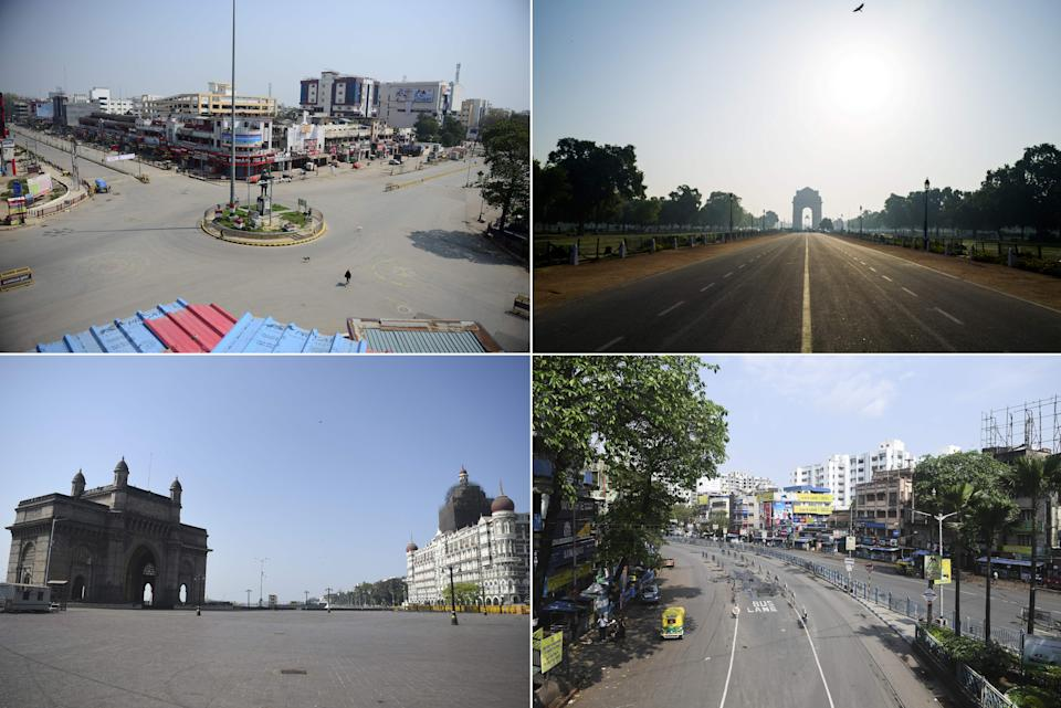(COMBO) This combination of pictures taken and created on March 22, 2020, shows deserted (clockwise) Subhash Chowk in Allahabad, Rajpath leading to India Gate in New Delhi, road in Kolkata and Gateway of India and Taj Mahal Palace hotel in Mumbai during a one-day nationwide Janata (civil) curfew imposed as a preventive measure against the COVID-19 coronavirus. - Nearly one billion people around the world were confined to their homes, as the coronavirus death toll crossed 13,000 and factories were shut in worst-hit Italy after another single-day fatalities record. (Photo by AFP) (Photo by SANJAY KANOJIA,JEWEL SAMAD,PUNIT PARANJPE,DIBYANGSHU SARKAR/AFP via Getty Images)