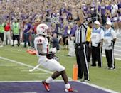 SMUwide receiver Jeremy Johnson (15) scores a touchdown during the first half of an NCAA college football game against TCU Saturday, Sept. 28, 2013, in Fort Worth, Texas. (AP Photo/Brandon Wade)
