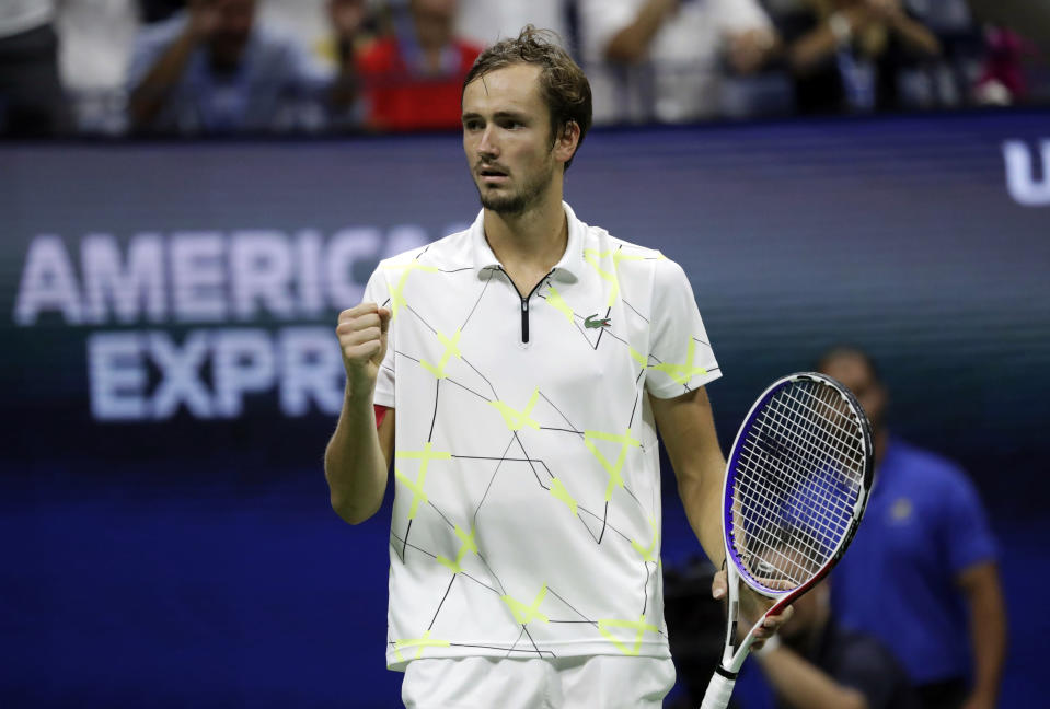 Daniil Medvedev, of Russia, reacts after winning the fourth set against Rafael Nadal, of Spain, during the men's singles final of the U.S. Open tennis championships Sunday, Sept. 8, 2019, in New York. (AP Photo/Adam Hunger)