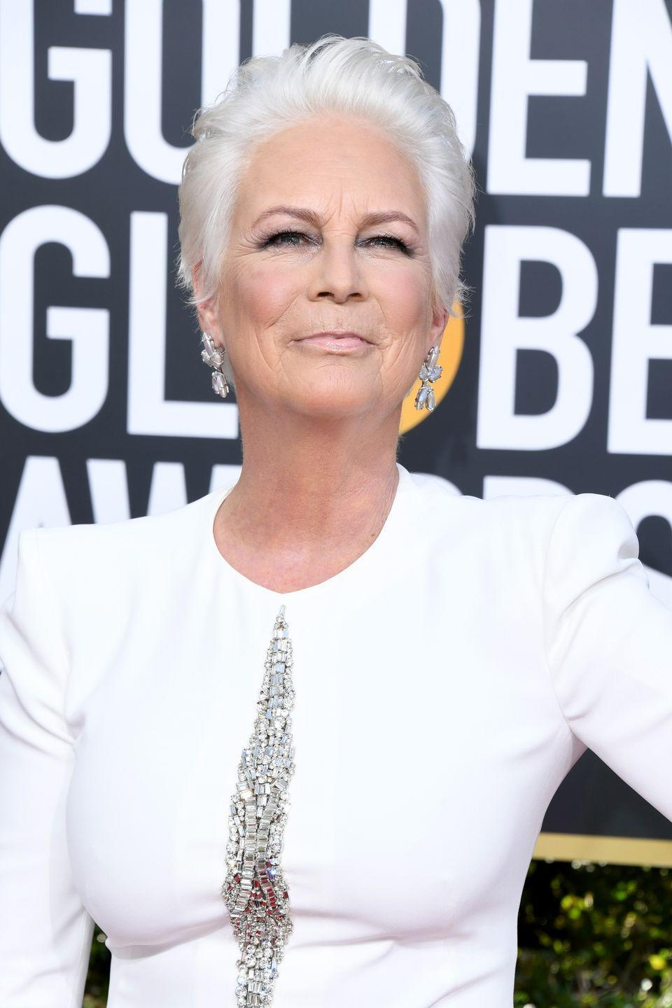 """<p>Cut your hair to pixie-length and dye it bright white to stun like <a href=""""https://www.prevention.com/health/a29728671/jamie-lee-curtis-addiction-father-tony-curtis-interview/"""" rel=""""nofollow noopener"""" target=""""_blank"""" data-ylk=""""slk:Jamie Lee Curtis"""" class=""""link rapid-noclick-resp"""">Jamie Lee Curtis</a>. This is the perfect color for letting your lighter strands grow in.</p>"""