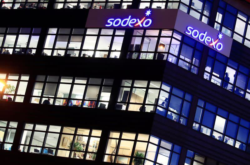 FILE PHOTO: The logo of French food services and facilities management group Sodexo is seen at the company headquarters in Issy-les-Moulineaux near Paris