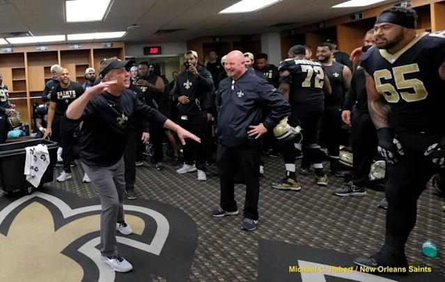 "<a class=""link rapid-noclick-resp"" href=""/nfl/teams/nor/"" data-ylk=""slk:New Orleans Saints"">New Orleans Saints</a> coach Sean Payton was just as excited as his players after the team's playoff win Sunday. (Saints.com)"