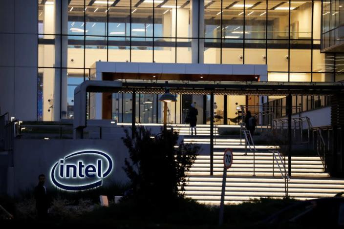 """U.S. chipmaker Intel Corp's logo is seen at the entrance to their """"smart building"""" in Petah Tikva, near Tel Aviv"""