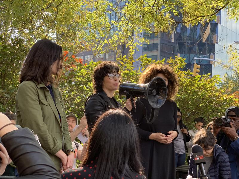 Meredith Wittaker, the founder of Google's Open Research group, addresses a crowd during a walkout of Google employees protesting sexual harassment at the company.