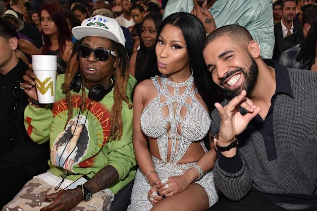 <p>(L-R) Lil Wayne, Nicki Minaj, and Drake attend the 2017 Billboard Music Awards at T-Mobile Arena on May 21, 2017 in Las Vegas, Nevada. (Photo by Kevin Mazur/BBMA2017/Getty Images for dcp) </p>