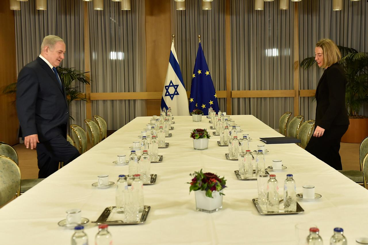 EU foreign policy chief Federica Mogherini meets with Israeli Prime Minister Benjamin Netanyahu at the European Council headquarters in Brussels, Belgium December 11, 2017. REUTERS/Eric Vidal