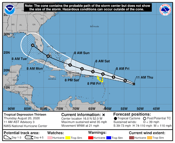 The forecast path of Tropical Depression 13 shows it approaching Florida as a hurricane on Monday.