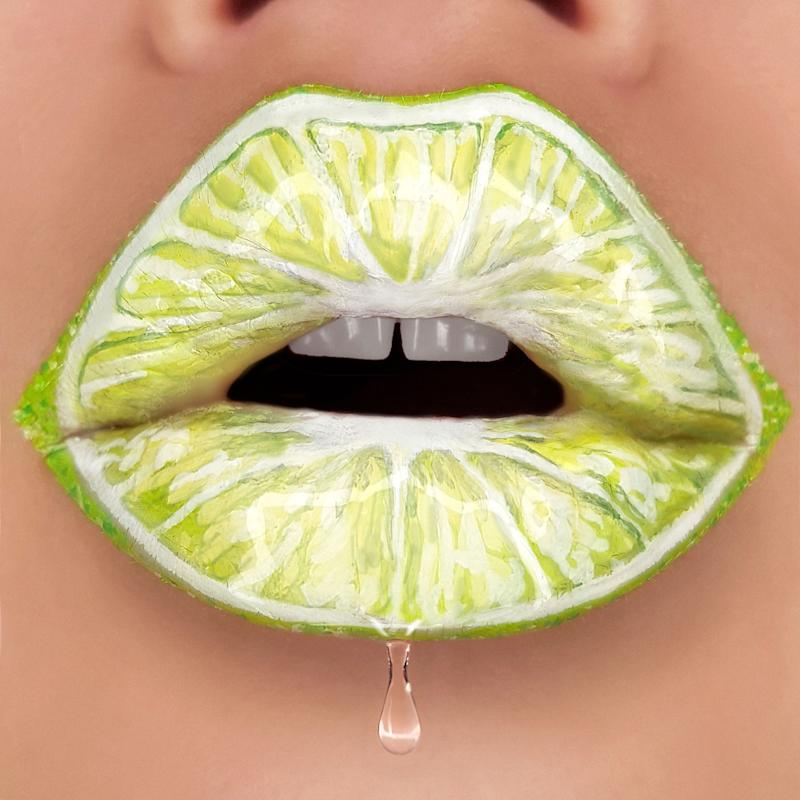 Tutushka's lipstick artwork featuring a lime. (Photo: Tutushka Matviienko/Caters News)