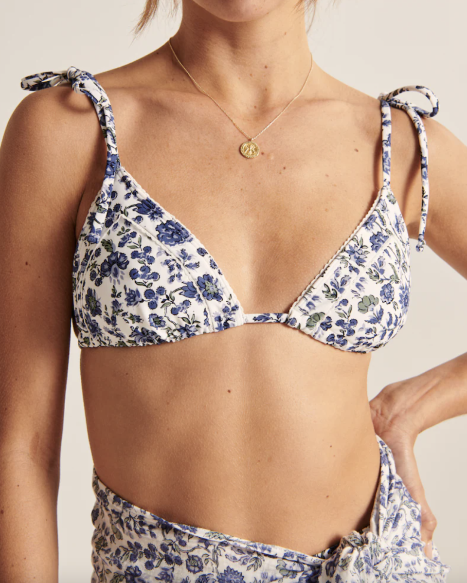 Shoulder-Tie Triangle Bikini Top in Navy Floral (Photo via Abercrombie & Fitch)