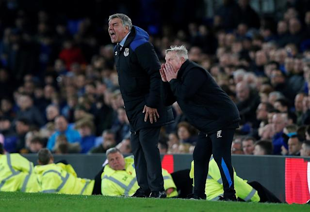 """Soccer Football - Premier League - Everton v Newcastle United - Goodison Park, Liverpool, Britain - April 23, 2018 Everton manager Sam Allardyce and assistant manager Sammy Lee REUTERS/Andrew Yates EDITORIAL USE ONLY. No use with unauthorized audio, video, data, fixture lists, club/league logos or """"live"""" services. Online in-match use limited to 75 images, no video emulation. No use in betting, games or single club/league/player publications. Please contact your account representative for further details."""