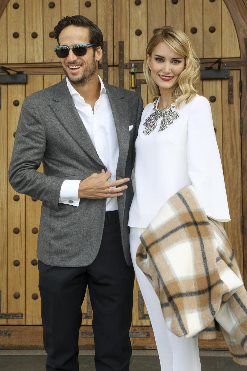 MADRID, SPAIN - DECEMBER 10: Feliciano Lopez and Alba Carrillo attend the Christening of Juan Pena and Sonia Gonzalez 's son Tristan Pena on December 10, 2015 in Madrid, Spain. (Photo by Europa Press/Europa Press via Getty Images)