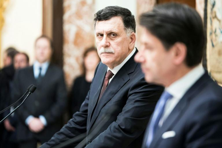 """This handed out on January 11, 2020 by the Palazzo Chigi Press Office shows President of Libya's UN-recognised Government of National Accord (GNA), Fayez al-Sarraj, who said he """"welcomed"""" a joint Russian-Turkish initiative for a truce"""