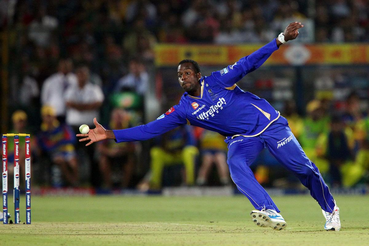 Kevon Cooper fields from his own bowling during match 61 of the Pepsi Indian Premier League ( IPL) 2013  between The Rajasthan Royals and the Chennai Super Kings held at the Sawai Mansingh Stadium in Jaipur on the 12th May 2013. (BCCI)