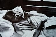 Mohandas Karamchand Gandhi resting during a rail journey to Delhi. 1946. Gandhi (2 October 1869 Ð 30 January 1948). was the preeminent leader of the Indian independence movement in British-ruled India. (Photo by: Universal History Archive/Universal Images Group via Getty Images)