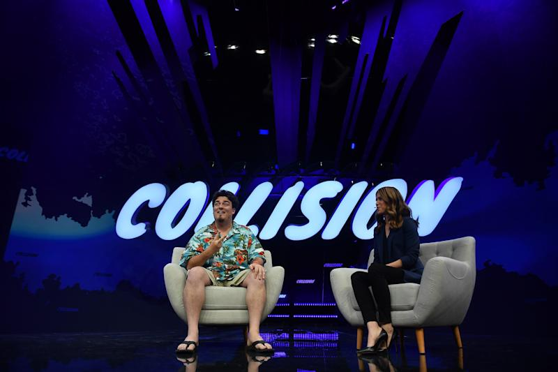 Toronto , Canada - 22 May 2019; Palmer Luckey, Oculus VR, and Deirdre Bosa, CNBC, on Centre Stage during day two of Collision 2019 at Enercare Center in Toronto, Canada. (Photo By David Fitzgerald/Sportsfile via Getty Images)