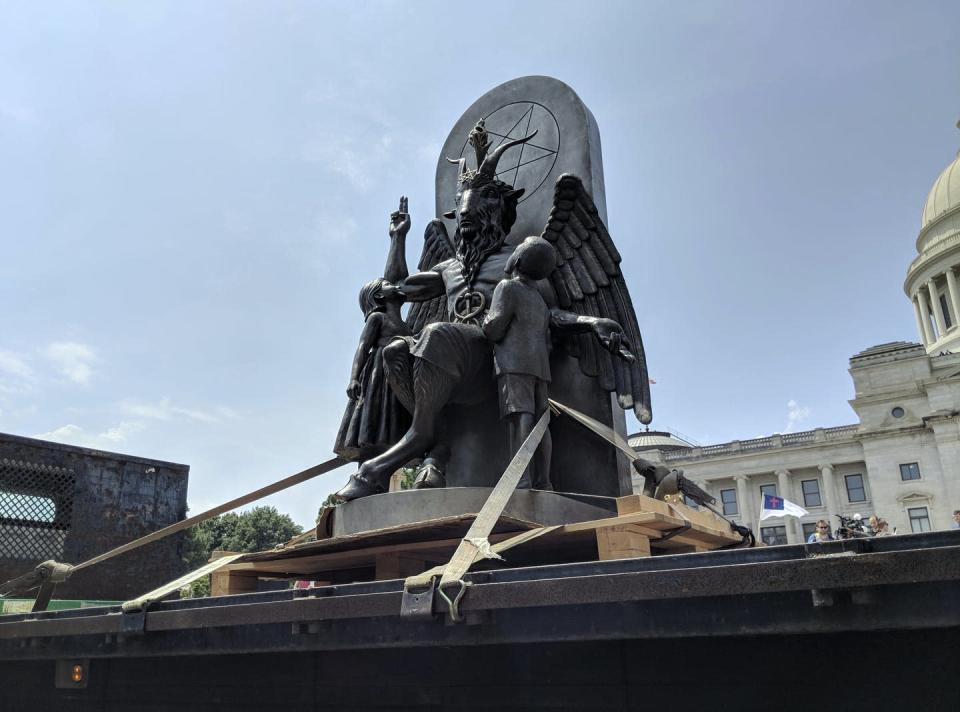 A statue of Baphomet, a winged-goat creature, installed by The Satanic Temple, a group of atheistic Satanists.