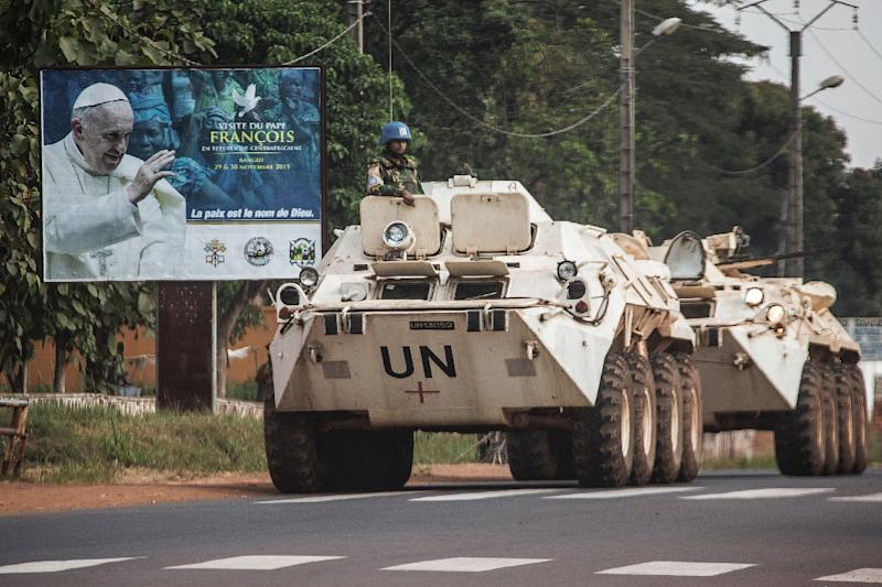 A United Nations Operation in Central African Republic (MINUSCA) military convoy is pictured on November 25, 2015 in Bangui