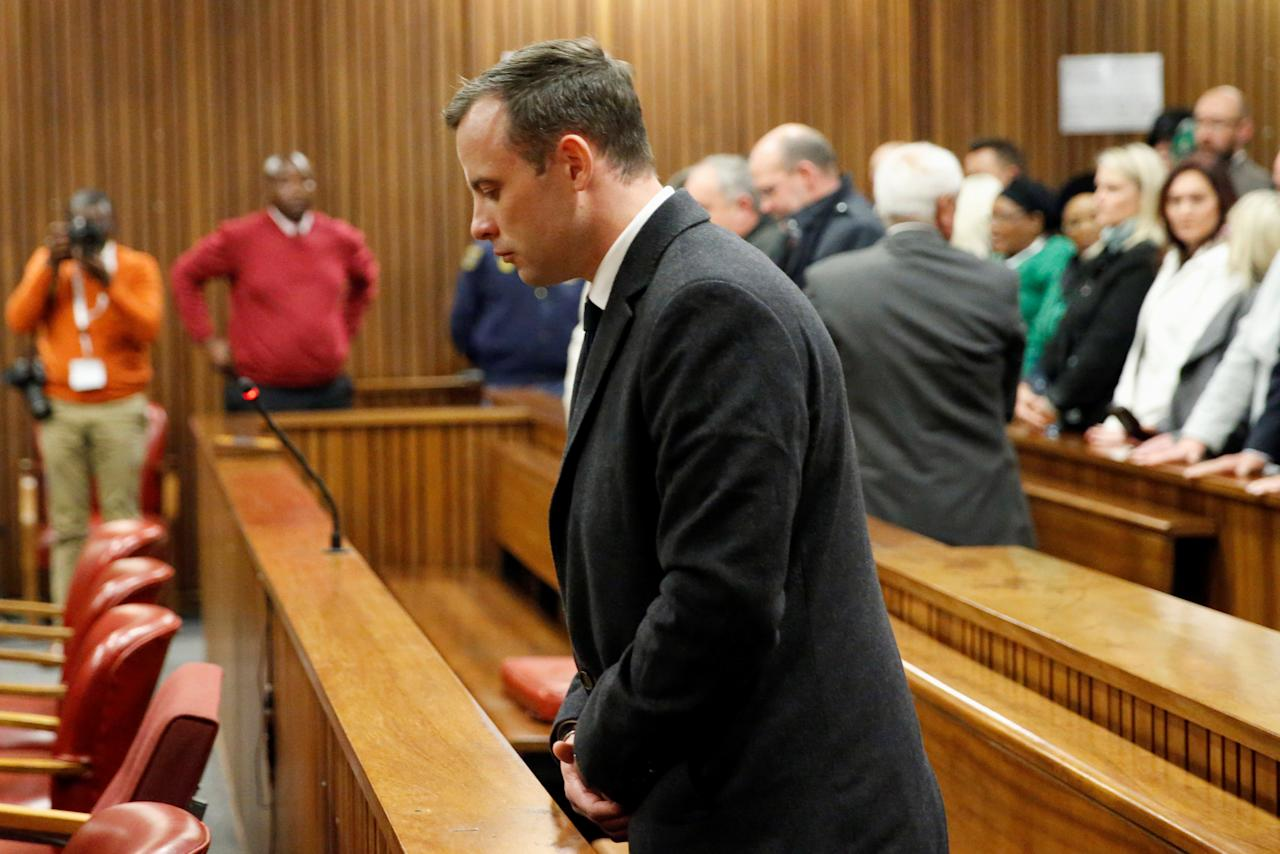 Olympic and Paralympic track star Oscar Pistorius reacts at his sentence hearing at the North Gauteng High Court in Pretoria, South Africa, July 6, 2016. REUTERS/Marco Longari/Pool