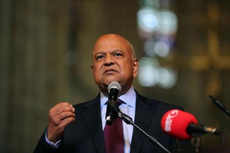 Former South African Finance Minister Pravin Gordhan addresses a memorial service for anti-apartheid veteran Ahmed Kathrada in Cape Town, South Africa April 6, 2017. REUTERS/Sumaya Hisham