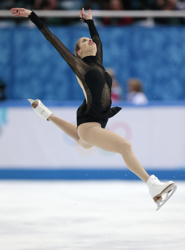 Carolina Kostner of Italy competes in the women's free skate figure skating finals at the Iceberg Skating Palace during the 2014 Winter Olympics, Thursday, Feb. 20, 2014, in Sochi, Russia. (AP Photo/Ivan Sekretarev)