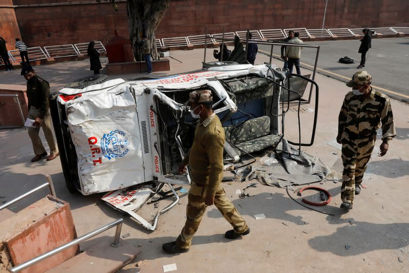 Aftermath of violent clashes between farmers and police, in Delhi