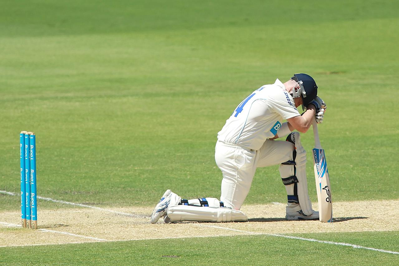 ADELAIDE, AUSTRALIA - FEBRUARY 19:  Brad Haddin of the Blues reacts during day one of the Sheffield Shield match between the South Australian Redbacks and the New South Wales Blues at Adelaide Oval on February 19, 2013 in Adelaide, Australia.  (Photo by Morne de Klerk/Getty Images)