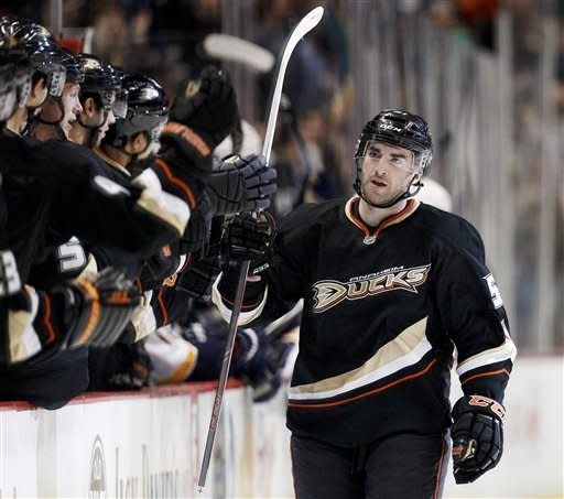Anaheim Ducks right wing Kyle Palmieri celebrates his second goal against the Nashville Predators during the first period of an NHL hockey game in Anaheim, Calif., Wednesday, Feb. 27, 2013. (AP Photo/Chris Carlson)