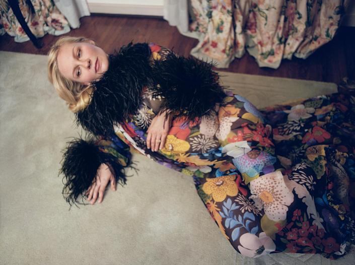 Kirsten Dunst in a Saint Laurent by Anthony Vaccarello floral dress (Zoe Ghertner / W Magazine)