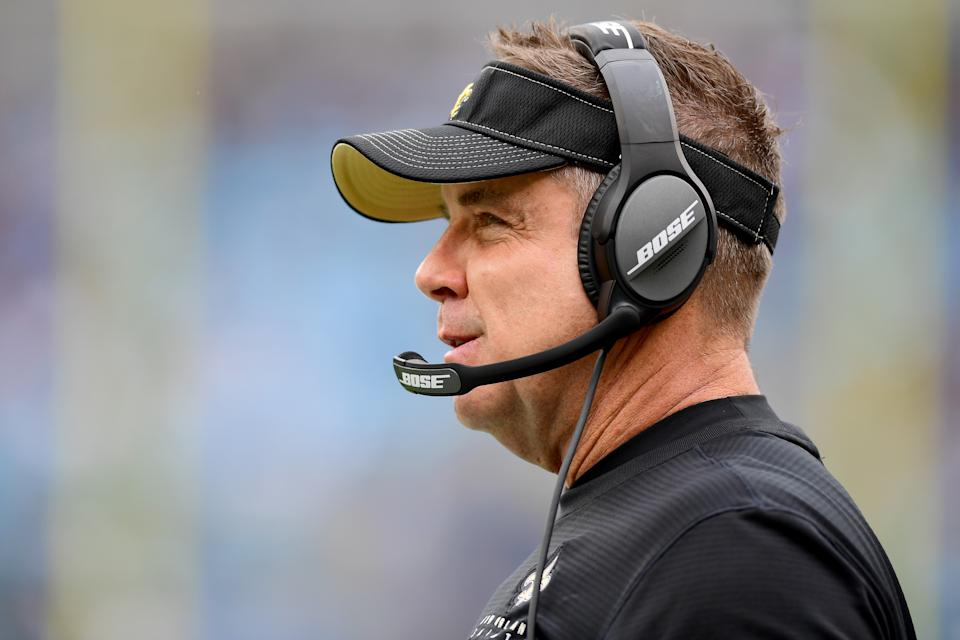 New Orleans Saints coach Sean Payton spoke about his symptoms from the coronavirus and encouraged people to take it seriously. (Photo by Jacob Kupferman/Getty Images)
