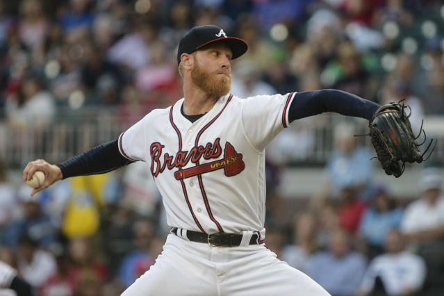 Atlanta Braves' Mike Foltynewicz pitches to a New York Mets batter during the first inning of a baseball game Tuesday, June 12, 2018, in Atlanta. (AP Photo/John Amis)