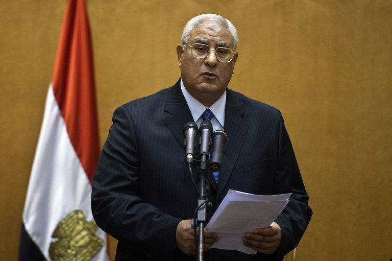 Adly Mansour delivers a speech during his swearing-in ceremony as interim president in Cairo on July 4, 2013