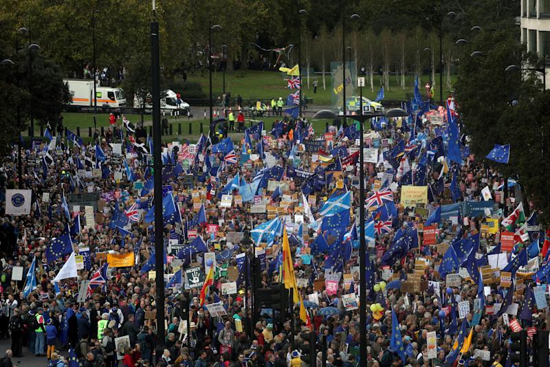 EU supporters march as parliament sits on a Saturday for the first time since the 1982 Falklands War, to discuss Brexit in London, Britain, October 19, 2019. REUTERS/Simon Dawson