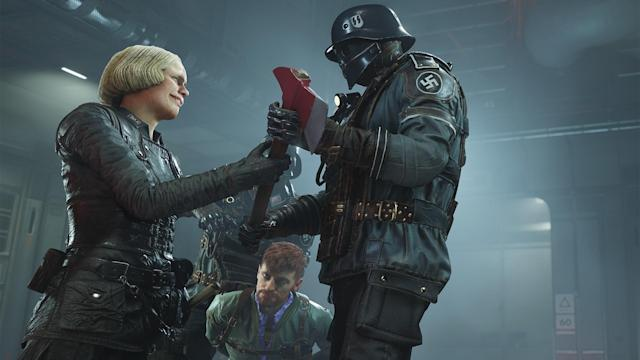 Some of 'Wolfenstein II's' most disturbing moments aren't found in the run-and-gun violence but in slower exchanges between characters. Source: Bethesda