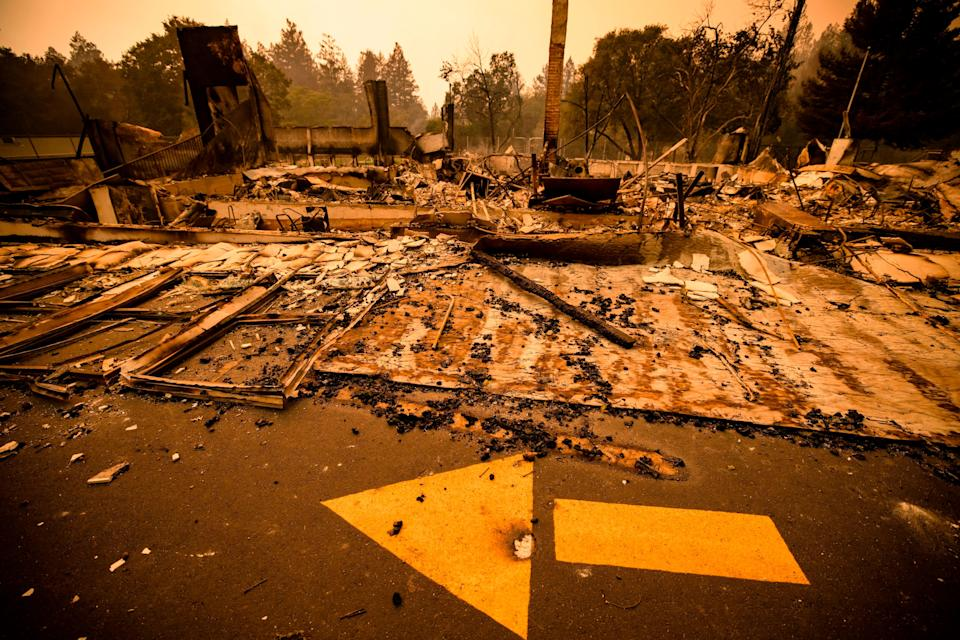 This is all that's left of the one of the buildings at Foothills Elementary School in Napa Valley on Monday.
