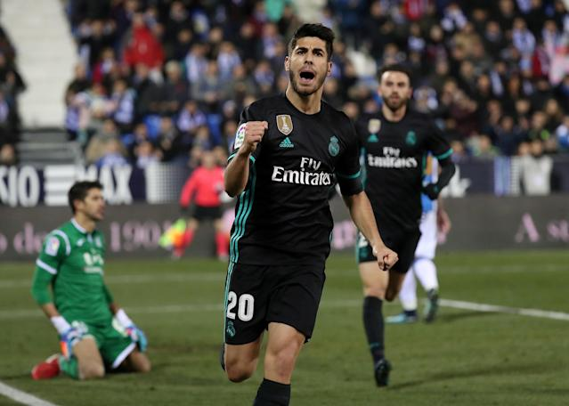 Soccer Football - Spanish King's Cup - Leganes vs Real Madrid - Quarter-Final - First Leg - Butarque Municipal Stadium, Leganes, Spain - January 18, 2018 Real Madrid's Marco Asensio celebrates scoring their first goal REUTERS/Susana Vera TPX IMAGES OF THE DAY