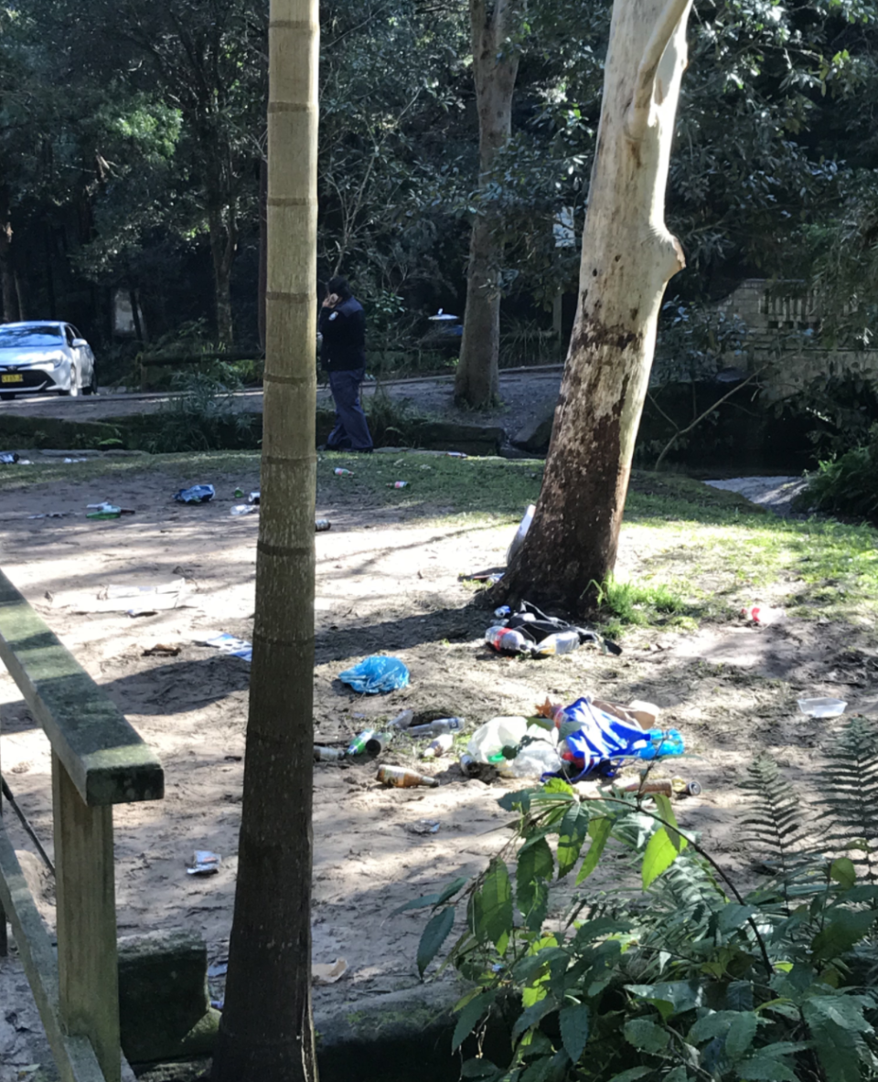 Photo shows rubbish left in Sydney park after party on Saturday night.