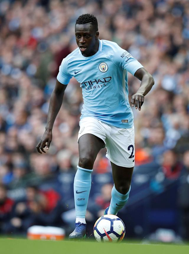 "Soccer Football - Premier League - Manchester City v Swansea City - Etihad Stadium, Manchester, Britain - April 22, 2018 Manchester City's Benjamin Mendy in action REUTERS/Phil Noble EDITORIAL USE ONLY. No use with unauthorized audio, video, data, fixture lists, club/league logos or ""live"" services. Online in-match use limited to 75 images, no video emulation. No use in betting, games or single club/league/player publications. Please contact your account representative for further details."