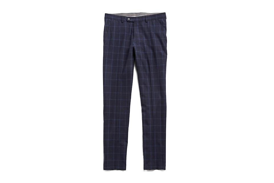 "$258, Todd Snyder. <a href=""https://www.toddsnyder.com/collections/sale/products/navy-wool-windowpane-trouser-navy"" rel=""nofollow noopener"" target=""_blank"" data-ylk=""slk:Get it now!"" class=""link rapid-noclick-resp"">Get it now!</a>"