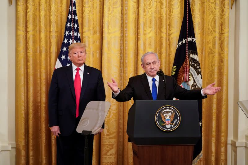U.S. President Trump and Israel's Prime Mininister Netanyahu deliver remarks on Middle East peace plan proposal at the White House in Washington