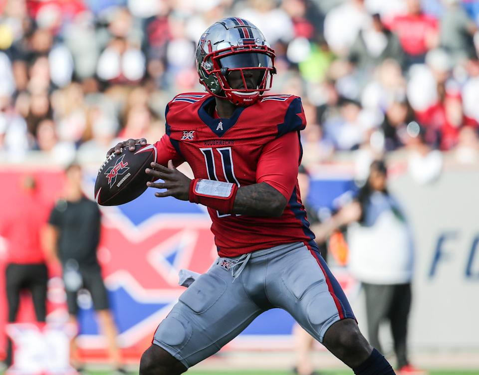 Houston Roughnecks quarterback P.J. Walker (11) attempts a pass during the first quarter against the Los Angeles Wildcats in a XFL football game at TDECU Stadium.