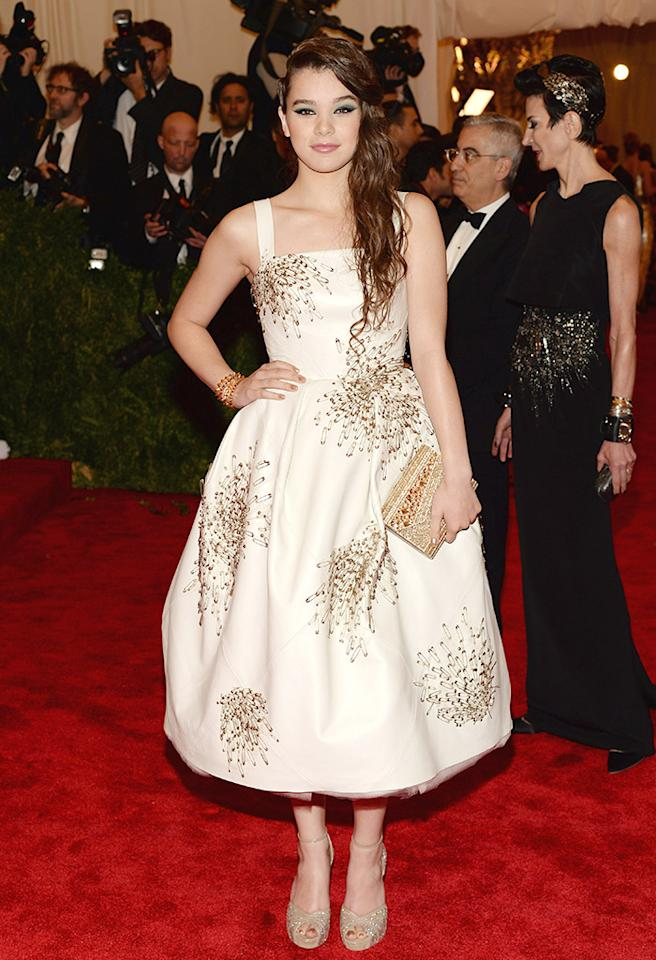 "NEW YORK, NY - MAY 06:  Actress Hailee Steinfeld attends the Costume Institute Gala for the ""PUNK: Chaos to Couture"" exhibition at the Metropolitan Museum of Art on May 6, 2013 in New York City.  (Photo by Dimitrios Kambouris/Getty Images)"