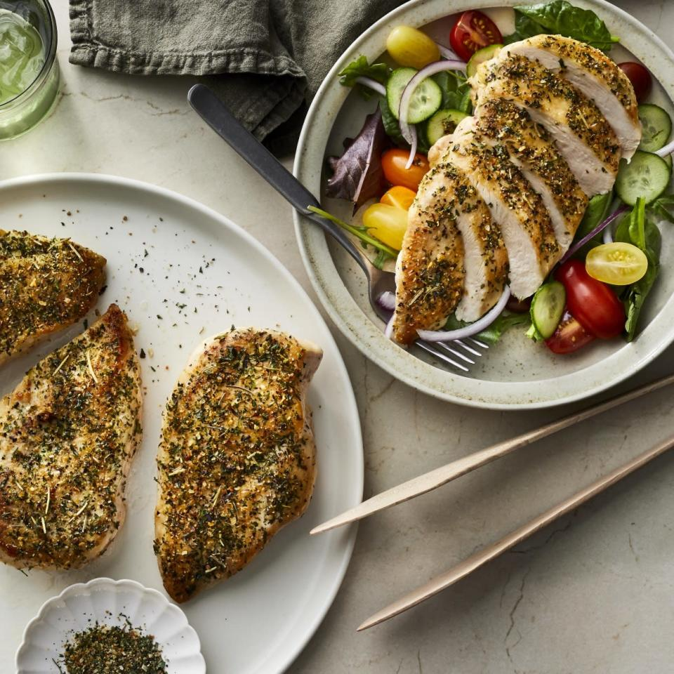 <p>Use this Instant Pot chicken breast recipe any time you need cooked chicken on hand. Cooking chicken breasts in your Instant Pot (or other multicooker) is an easy, hands-off way to enjoy chicken during the week for easy lunches and dinners. Slice chicken for a salad, or shred and use in your favorite chicken salad recipe. This recipe calls for the dried seasoning blend of your choice, so you can vary the basic recipe according to what you want to make. For example, use Italian seasonings to make chicken for a Mediterranean-style salad or choose to cook the chicken breast with chili powder for tacos, nachos or chicken chili.</p>