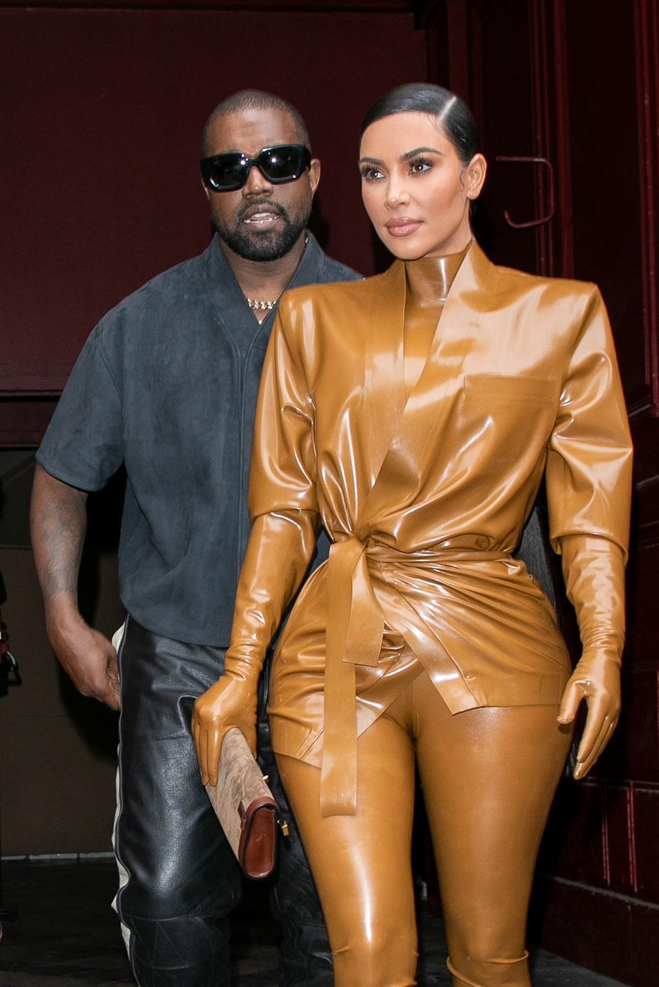 Kim Kardashian West and husband Kanye West leave K.West's Sunday Service At Theatre Des Bouffes Du Nord - Paris Fashion Week Womenswear Fall/Winter 2020/2021 on March 01, 2020 in Paris, France.