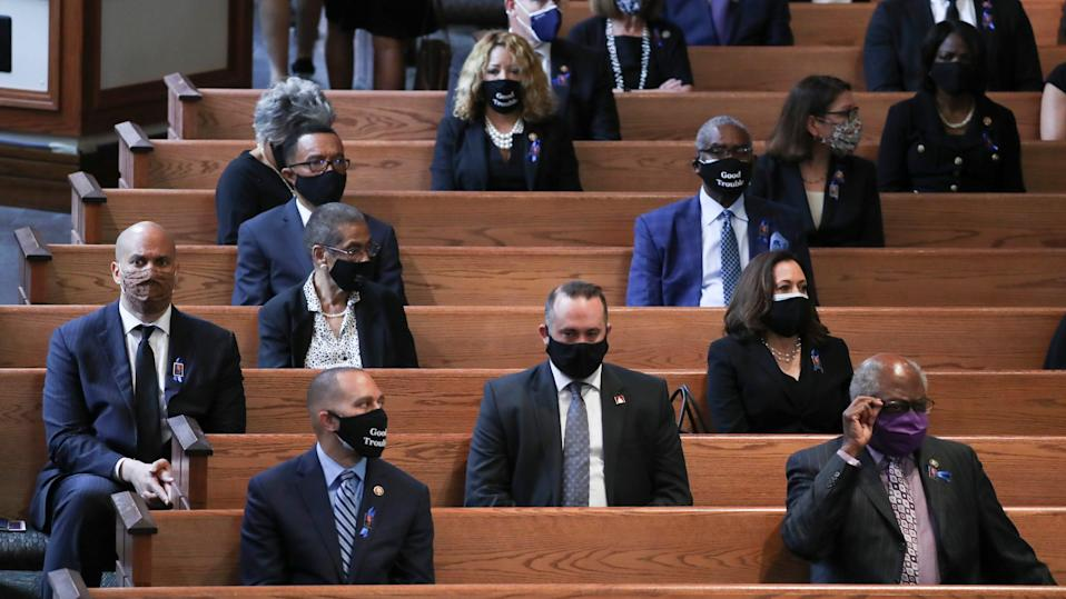 Members of Congress wait for the program to start at the funeral service for the late Rep. John Lewis, D-Ga., at Ebenezer Baptist Church in Atlanta, July 30, 2020.