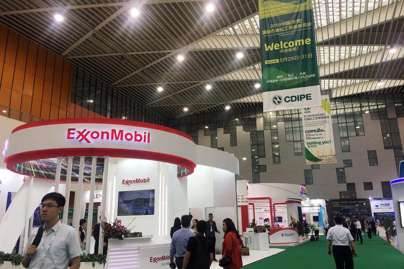 Booth of U.S. major ExxonMobil is seen at the China (Dongying) International Petrochemical Trade Exhibition in Dongying