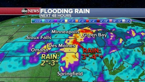 PHOTO: The heaviest rain is forecast from Missouri to Mississippi where some areas could see up to 4 inches of rain and flash flooding is forecast.  (ABC News)