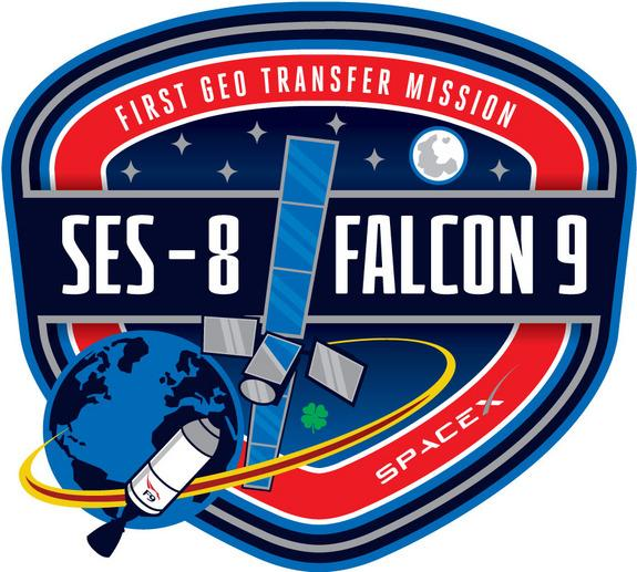 The mission emblem for SpaceX's Falcon 9 v1.1 rocket launch carrying the SES-8 communications satellite on Nov. 25, 2013.