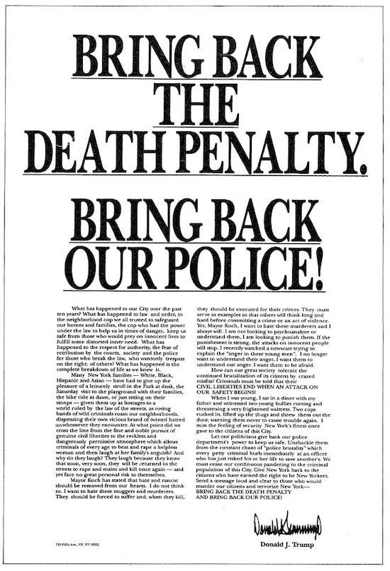 Trump central park five ad