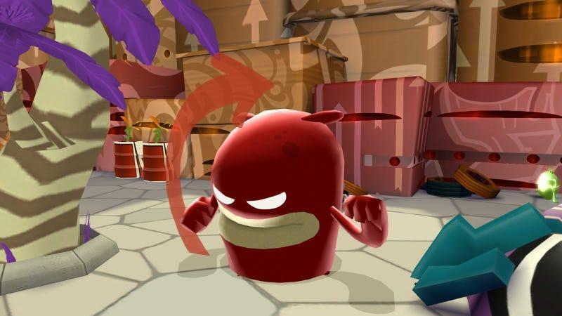 A screen from De Blob, a game about a paint-absorbing blob colorizing the world.