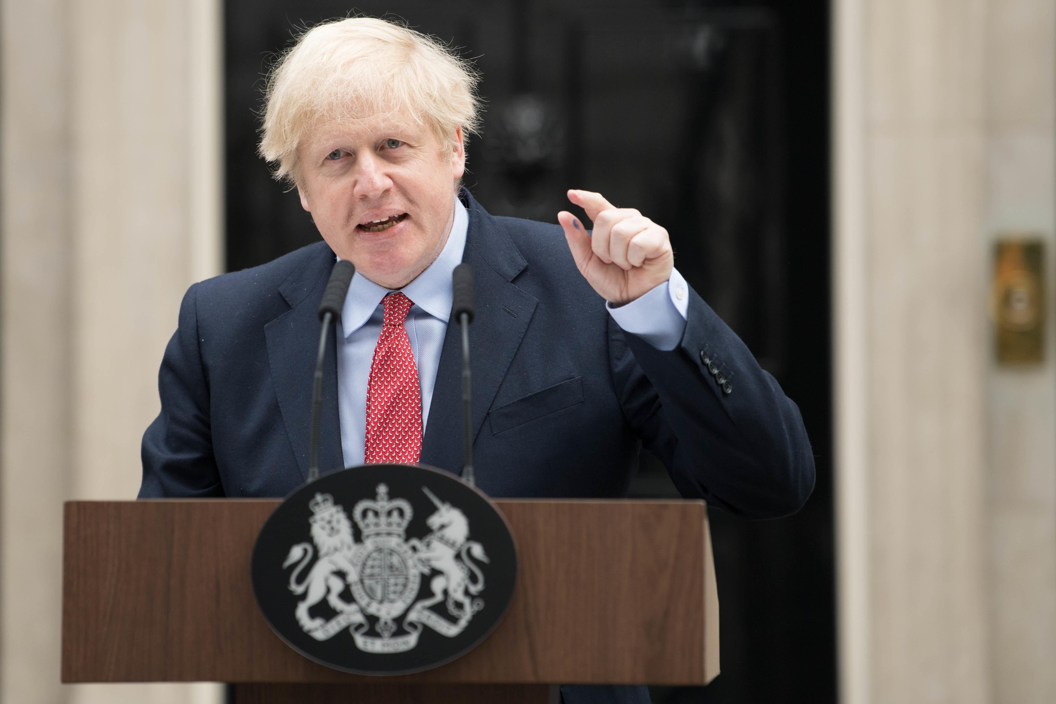Prime Minister Boris Johnson makes a statement outside 10 Downing Street, London, as he resumes working after spending two weeks recovering from Covid-19. PA Photo. Picture date: Monday April 27, 2020. The Prime Minister is resuming full-time duties at the head of the Government three weeks after he was admitted to hospital with the disease. See PA story HEALTH Coronavirus. Photo credit should read: Stefan Rousseau/PA Wire (Photo by Stefan Rousseau/PA Images via Getty Images)